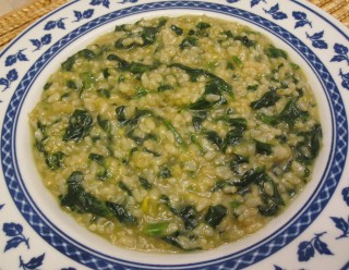 risotto porri e spinaci